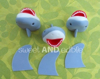 SHARKS and FINS. 12 Fondant Cupcake Toppers.
