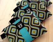 Card, Coin Purse, PADDED Zippered Pouch and Key Ring, Turquoise and Brown Geometric Print