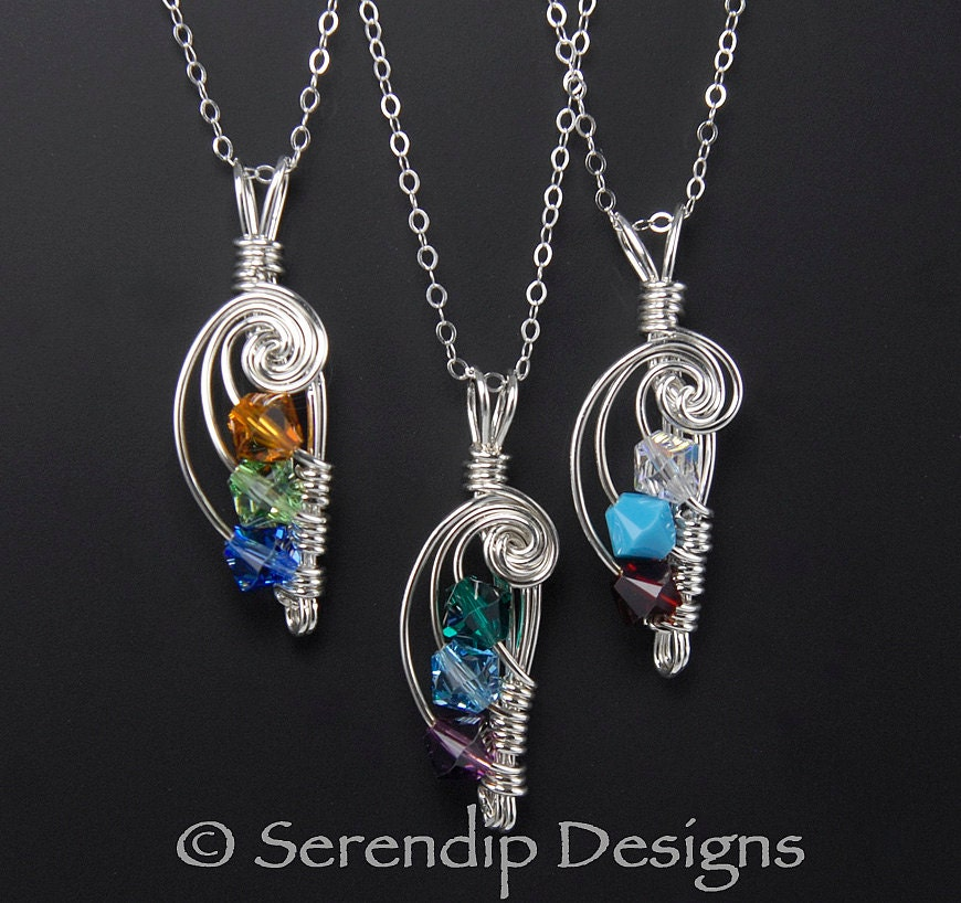 mothers pendant argentium sterling silver three birthstones. Black Bedroom Furniture Sets. Home Design Ideas
