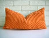 Orange Pillow Cover - Vintage Modern Geometric Cut Velvet - Metallic Gold - Hollywood Regency Decor