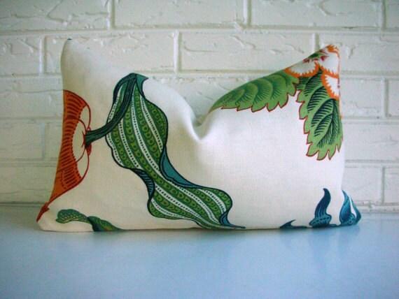 Decorative Designer Pillow Cover - Schumacher Celerie Kemble Hot House Flowers Spark - Orange Blue Green Winter White - Traditional 12x20
