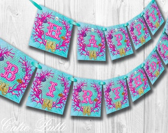 Mermaid Party, Under The Sea Party - PRINTABLE BIRTHDAY BANNER - Cutie Putti Paperie