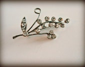 Vintage Brooch - Vintage Silver and Rhinestone Lily of the Valley Brooch