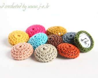 10 metal round crochet buttons for jewelry, necklase making, baby clothes, 2 cm cotton nature friendly - choose any color mix & match