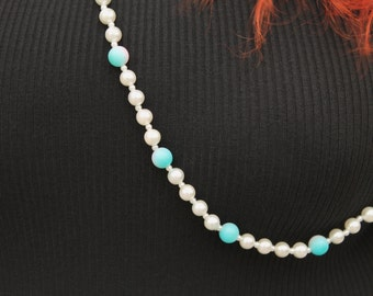 Vintage 80s Kawaii Cotton Candy OMBRE and PEARL Beaded LARIAT Rope Length Costume Necklace