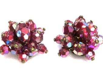 Vintage Aurora Borealis Purple Crystal Earrings, Made in Austria, Crystal Cluster Earrings