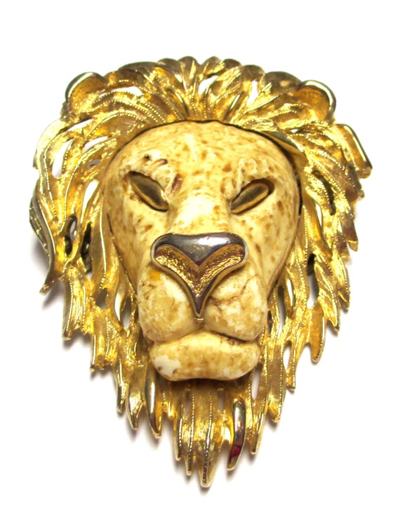 Vintage Razza Signed Lion Head Necklace Pendant Leo Lion Head