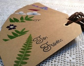 Free shipping Set of 5 Pressed Flower Gift Tags