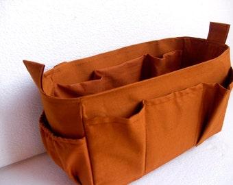 Bag organizer - Purse organizer insert in Mustard fabric