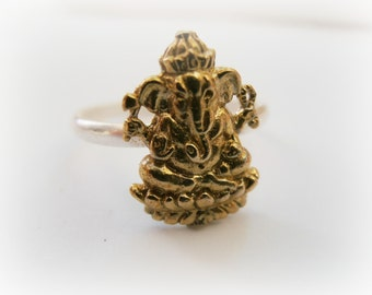 Ganesh Stack Ring - Gold and silver Ganesh Ring - Yoga jewelry - Yoga Gold Ring - Yoga brass ring - Elephant gold ring - Elephant ring