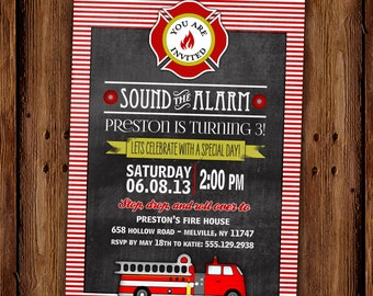 Fire Truck Birthday Invitation - Fire Station - Sound the Alarm - PRINTABLE or Printed Cards