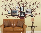 Family Tree Wall Decal -Picture Frame Background Wall Decals - Large Tree Wall Sticker - TRFMLY010