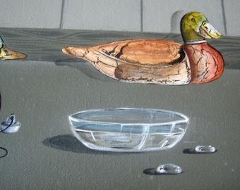 Original Stylized Mallard Duck Oil Painting Father's Day, Birthday, Camp Decor Primitive Folk Art Cajun Catholic Priest