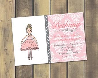 Sweet Ballerina Printable Invitation - PDF