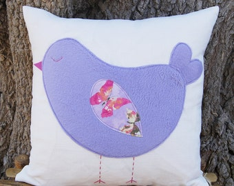 """Purple Sleeping Birdie Organic White Linen Pillow Cover/ Lavender Color Bird Decorative Pillow/ 16""""x16""""/ Made To Order"""