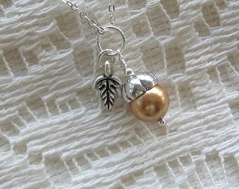 Tiny Acorn Necklace - Antique Gold