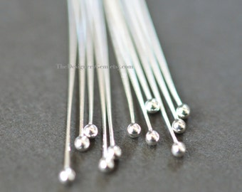 One Half Inch Thin Sterling Silver Ball Headpin 26 Gauge 20 Pieces