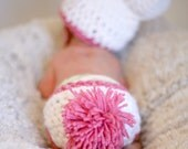 Bunny Hat and Diaper Cover Set - bunny photo prop, easter, spring, photo prop, infant photo prop, winter hat, crochet