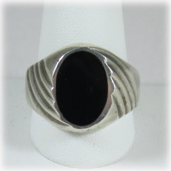 mens vintage sterling silver onyx ring by junkboxtreasures