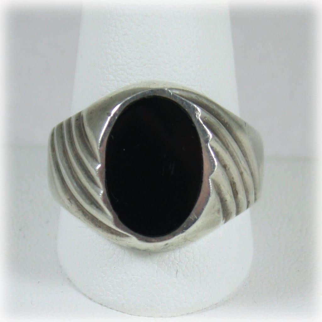mens vintage sterling silver onyx ring. Black Bedroom Furniture Sets. Home Design Ideas