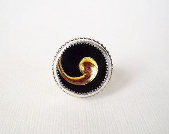 Black and Gold Swirl Ring in Sterling Silver. Recycled Vintage Button Jewelry