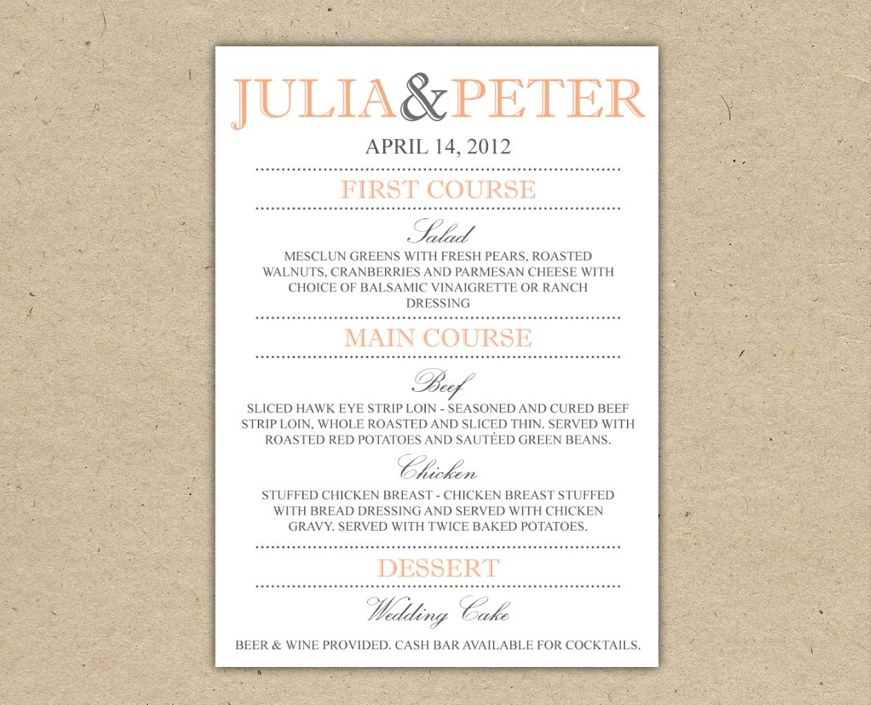 Wedding Menu Dinner Custom Reception By Bejoyfulpaper