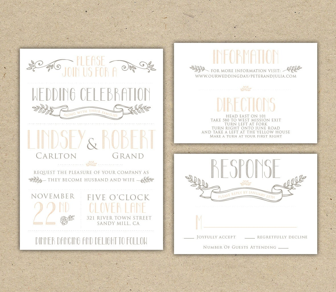 Printable Wedding Invitation And RSVP Template Rustic DIY
