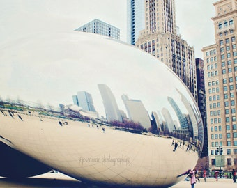 Chicago Photography, The Bean, Cloud Gate Photography, Chicago Print, City Photography,Travel Art, Chicago Wall Art, City Print, Urban Art