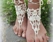 Barefoot Sandals Ivory Crochet, Nude shoes, Foot Jewelry, Wedding, Victorian Lace, Sexy, Yoga, Anklet , Bellydance,Beach