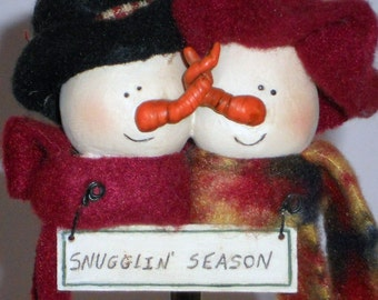 Snowman Couple Hanging Decoration Snugglin Season Wreath Adornment Crafting