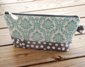 Large Zippered Pouch - Teal Damask and Grey Dots