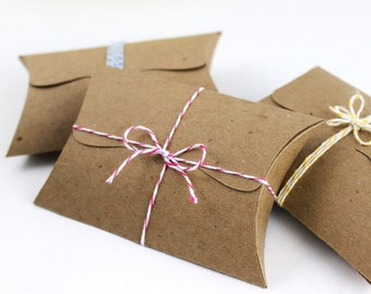 """Pillow Boxes with Tab Tuck Closure, 10 - jewelry packaging, favor boxes, gift card holders -  4.5"""" x 2.75"""" x 1"""" -  Kraft, assorted colors"""