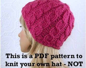 Instant download knitting hat pattern - Simple Cable Beanie pattern - pdf pattern - DIY winter hat pattern by Sandy Coastal Designs