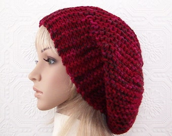 Knit slouch hat - cranberry mix - women's beanie winter accessories Winter Fashion Handmade by Sandy Coastal Designs - ready to ship