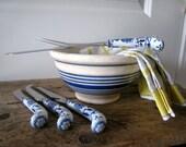 English,Ironstone Vintage Blue and White Stripe MIxing Bowl
