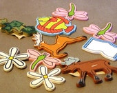 Group of Assorted Wooden Cutouts Painted Flowers Bugs Animals