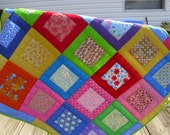 FINAL MARKDOWN Square Within A Square Crib Quilt Couch Throw Hand Quilted Baby Quilt Bold Colors - mommawhazelsquilts