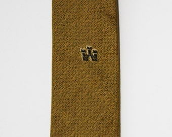 Gold and Black Badged Skinny Tie
