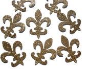 50 Royal Glitter Gold Fleur De Lis Confetti, Paris Bridal Shower, Party Decorations - No153