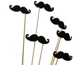 12 Medium Black Mustache Photo Booth Props, Wedding Photo Props, Props on a Stick, Mustache on a Stick, Mustache Skewers, Toppers - No470