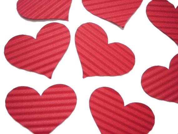 25 Large Crimped Red Heart punch die cut cutout scrapbooking embellishments - No874