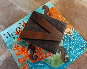 OLD Wooden 2 inch letterpress letter V, wonderful rich brown Hue & Patina, remnants old ink, HOT versatile decor industrial vibe, OTHERS