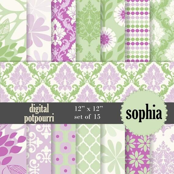 buy2get1 buy2get1damask digital scrapbook paper pack - sophia - 15 floral and damask papers