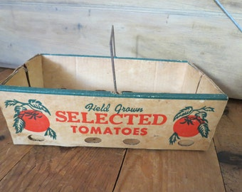 Vintage Cardboard Advertising Tomato Box.