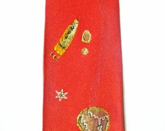 1940's Space Age- Steampunk- Hand- Painted Rocket Tie