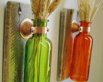 Colored Bottle Pair, Farmhouse decor, Fixer Upper style decor, rustic bottle wall decor, Farmhouse style, fixer upper style, Fall decor