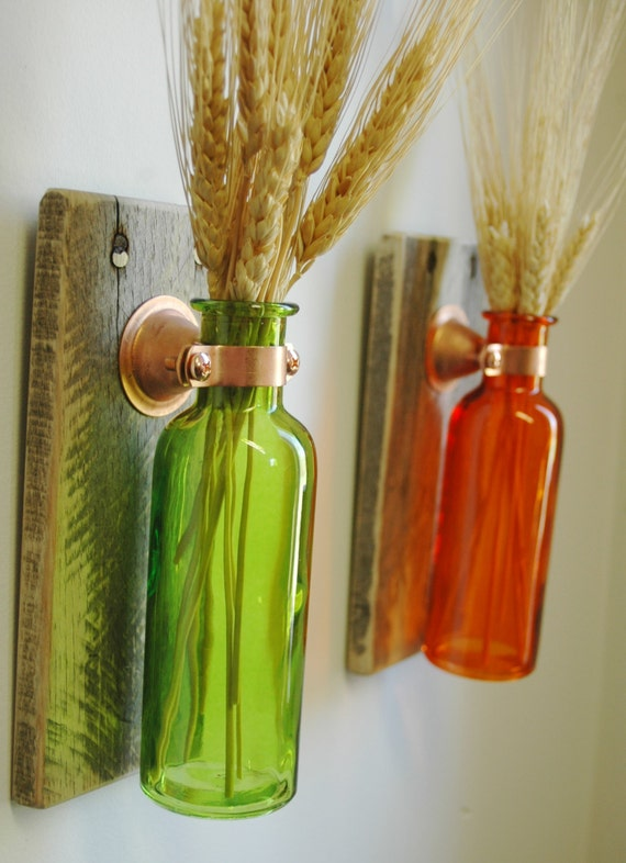Colored bottle pair farmhouse decor fixer upper style decor for Colored bottles for decorations