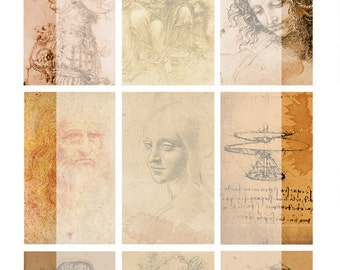 Digital Collage Sheet No 08 Leonarda da Vinci Vintage ATC Backgrounds