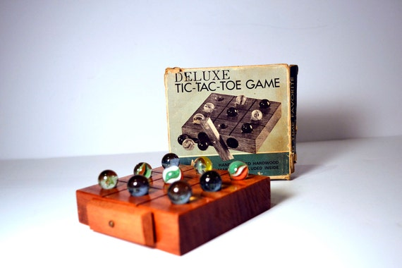Vintage Deluxe Tic-Tac-Toe Game Wooden Block Board, Marbles Made