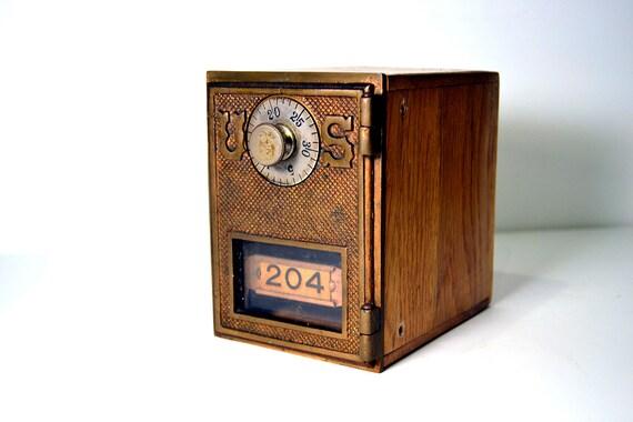 Vintage Brass US PO Box Door Post Office Mailbox 204 Wooden